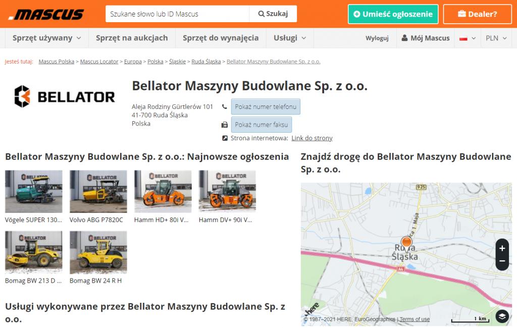 Wizytówka firmy Bellator Maszyny Budowlane w Mascus Locator