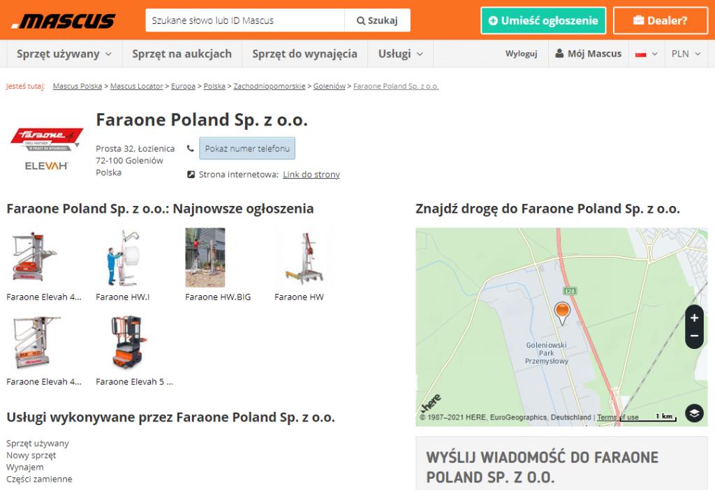 Wizytówka firmy Faraone Poland w Mascus Locatorze - artykuł na blogu Mascus Polska