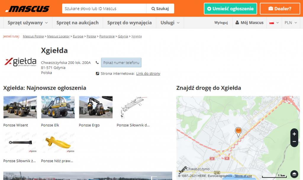 Wizytówka firmy Xgiełda w bazie Mascus Locator (źródło: Mascus)